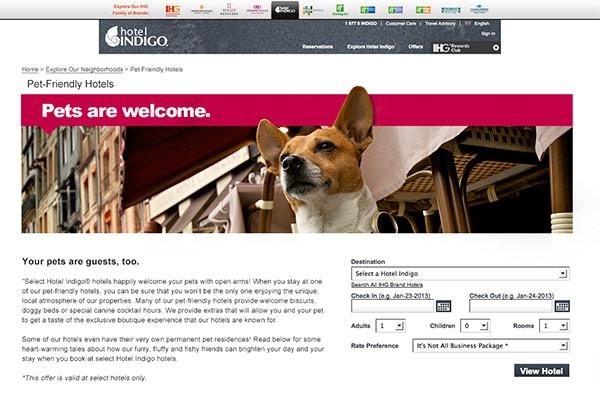 Hotel Indigo Pet Friendly Landing Page